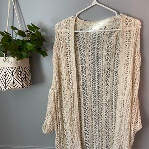 White/Cream Open Weave Boho Cardigan